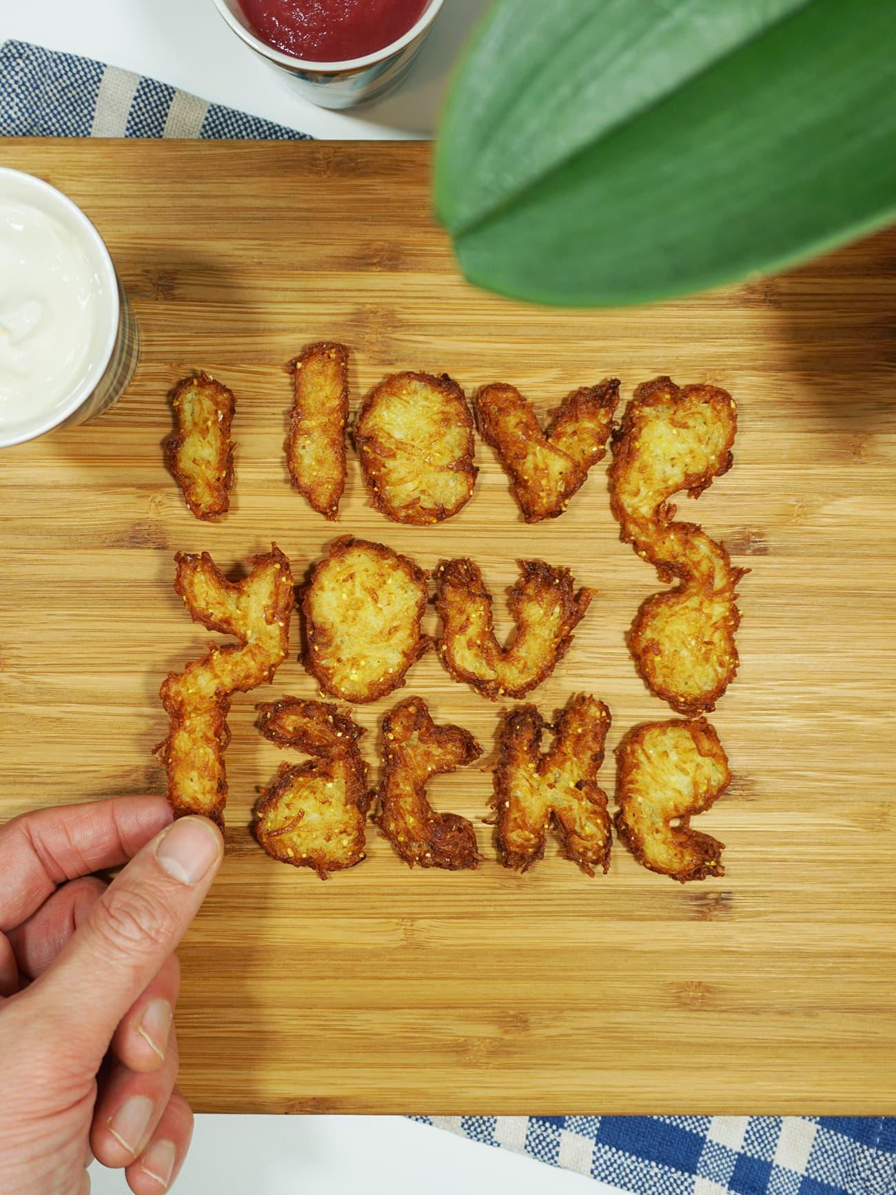 I love you a latke - food potato pancake lettering art