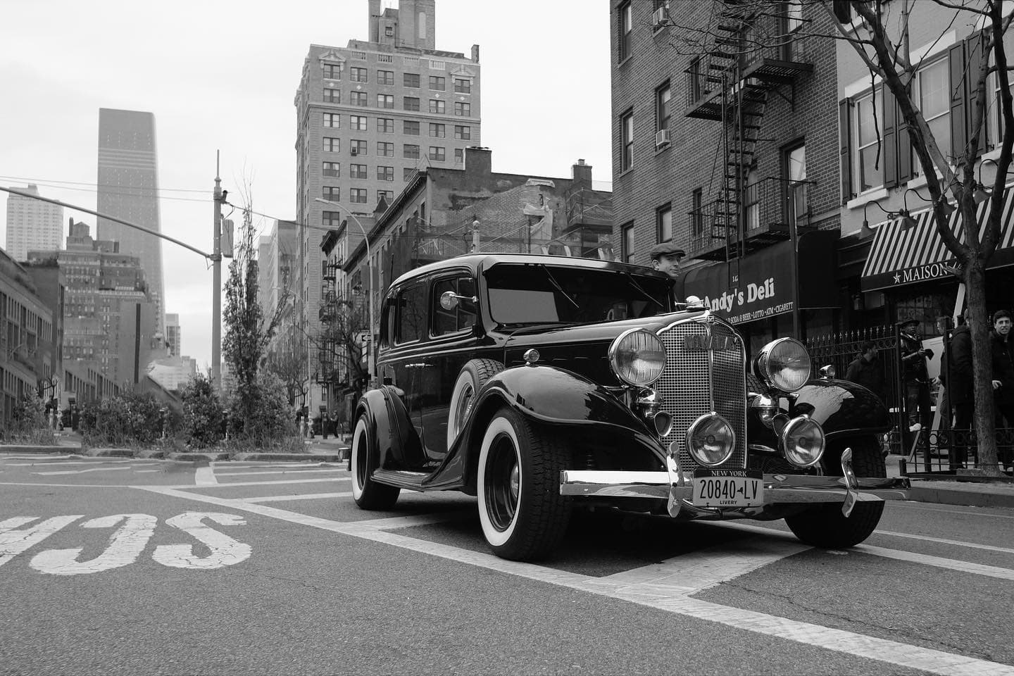 old car in manhattan, being used for a commercial shoot